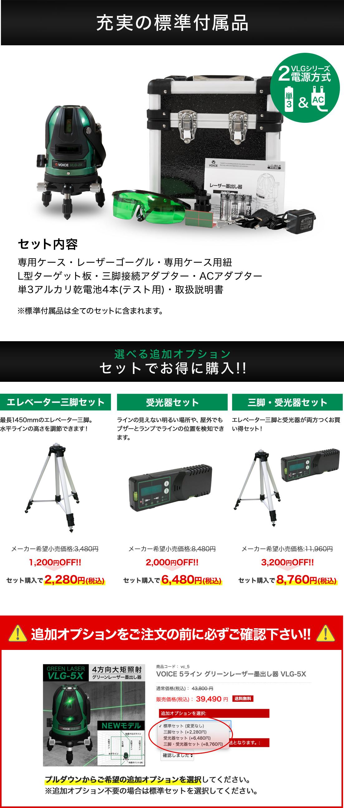 レーザー墨出し器 VLG-5X 標準付属品